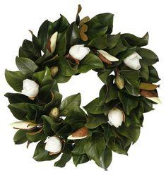 """24"""" Magnolia Bud Wreath, Faux $159.00"""