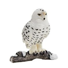 """Schleich Snowy Owl Toy Figure by Varios. Hand Painted. Highly Detailed. Fun Fact: Snowy owls have a thick feather coating on their feet; These are their """"snow shoes"""" which protect them from the cold. The snowy owl is a large species of owl; Due to their snowy habitat, they often have snow-white colored feathers."""