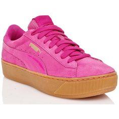 PUMA Vikky Platform Sneakers ($70) ❤ liked on Polyvore featuring shoes, sneakers, lace up sneakers, laced shoes, patent leather shoes, platform shoes and pink platform shoes