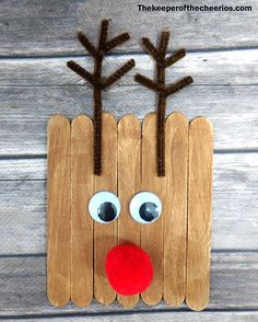 "Easy Christmas Craft Stick Photo Frames Materials: Jumbo craft sticks Wiggle eyes Craft paint and paint brushes Pom poms Chenille stems Glue Childs photo misc embellishments scissors Directions: Reindeer Frame: Glue together 3 jumbo craft sticks ( the top stick glue about a 1"" below the ends of the other 2 sticks to make ears) Let the kids paint them brown with craft paint glue on eye and a pom pom nose make antlers with your chenille stems and glue on glue photo to the back of your rein..."