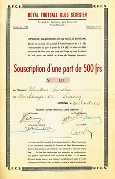 Belgium, Royal Football Club Sérésien, Seraing, 1952, Souscription d'une part de 500 Francs