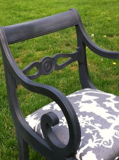 Painted Armchair in Graphite Upholstered in by summerwindinteriors, $189.00