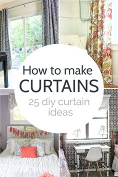 Stenciled Curtains, No Sew Curtains, Cheap Curtains, Home Curtains, How To Make Curtains, Curtains With Blinds, Camper Curtains, Thermal Curtains, Curtain Patterns