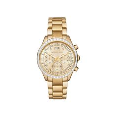 Michael Kors MK6187 Brinkley Gold Stainless Steel Women s Watch ❤ liked on Polyvore featuring jewelry, watches and gold stainless steel jewelry