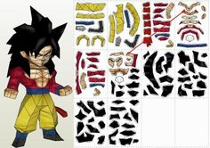 Dragon Ball Z - Goku SSJ4 Paper Model In Chibi Style - by Paper Juke - == -  From Japanese anime Dragon Ball Z, here is Goku SSJ4, in a nice paper model version in Chibi style, created by French designer Metal Heart, from Paper Juke website.