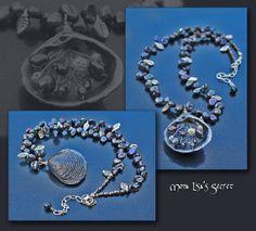 Black Seashell Necklace, Black Pearl Necklace, Black Necklace, Black Seashell Jewelry, Fresh Water Pearl Jewelry, Black Jewelry