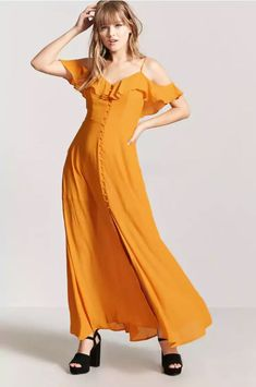 Orange Stevie Nicks inspired maxi dress from Forever 21. Click through to see my Get the Look: Stevie Nicks post.
