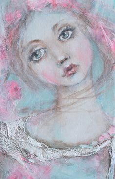 original girl child shabby floral mixed media textile by fadedwest