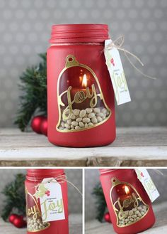 20 Magical Christmas mason jars that you can yourself this holiday! These Christmas mason jars are perfect for home decor, or even gifts! Mason Jar Christmas Crafts, Noel Christmas, Jar Crafts, Bottle Crafts, Christmas Projects, Holiday Crafts, Christmas Gifts, Christmas Decorations, Christmas Centerpieces