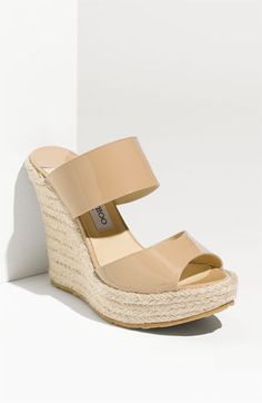 """Jimmy Choo Poplar Platform Espadrille $ 385.00 Gleaming patent leather styles a lofty espadrille sandal.  Approx. heel height: 4 3/4"""" with a 1 1/2"""" platform (comparable to a 3 1/4"""" heel).  Patent leather upper/leather lining/rubber sole.  Made in Italy."""
