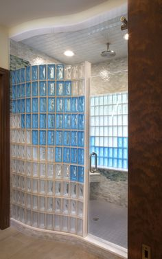 glass block shower bathroom renovation using seves pegasus aquamarine and neutro r09 blocks