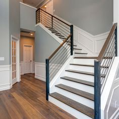 There comes a time when your staircase banisters need a makeover. There's always a DIY solution to your banister woes and perhaps you just need one of these ideas to freshen things up. Staircase Banister Ideas, Banister Remodel, New Staircase, Stair Railing, Indoor Railing, Staircase Railing Design, Interior Railings, Stair Design, Stair Risers
