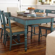 Whether your look is American vintage, French country or pure eclectic, the Camille Kitchen Dining Table adds instant credibility to any interior. Distressed Kitchen Tables, Painted Kitchen Tables, Distressed Furniture, Dining Table In Kitchen, Kitchen Paint, Upcycled Furniture, Painted Furniture, Painted Chairs, Kitchen Chairs