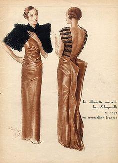 Alexandre Iacovleff, Illustrator,  1934 Schiaparelli Evening Gown, Back Martial & Armand Fox Fur
