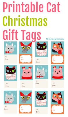 As a cat lover, I couldn't help but make these Printable Cat Christmas Gift Tags! After all, nothing says Meowy Christmas like a cat! Christmas Gift Tags Printable, Free Printable Gift Tags, Christmas Printables, Free Printables, Christmas Animals, Christmas Cats, Merry Christmas, Christmas Ideas, Christmas Stuff