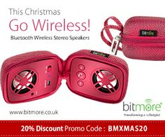 Enjoy FLAT 20% discount on this #xmas on #wireless #portable #speakers from Bitmore.