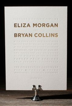 "Brides: Foil-Stamped Typography Wedding Invitation. ""Parker"" gold matte and pearl shine foil stamped wedding invitation, starting at $1,420 for 100 invitations, Bella Figura"