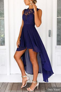 Delicate Crochet Lace Details Maxi Dress in Navy from mobile - US$35.95 -YOINS