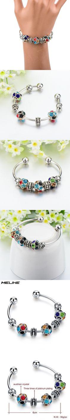MELIHE 2017 Multicolor Crystal Charms Bracelet Women Bracelets Bangles Diy Beads Turkish Jewelry SBR160168