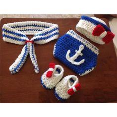 Anchors Away Handmade Sailor Crochet Outfit Set Photography Prop