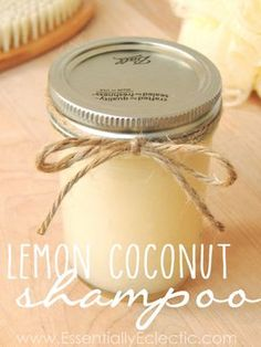 DIY Organic Lemon Coconut/EssentiallyEclectic.com/Learn to make your own DIY organic shampoo in minutes with this easy tutorial.!