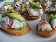 Crab and avocado crostini - Also great ideas for a ladies night out party which would be fun and not too much work