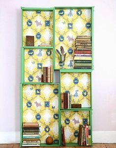 old drawers with cute lining made into bookcases