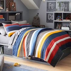 Shop circle bedding from Pottery Barn Teen. Our teen furniture, decor and accessories collections feature fun and stylish circle bedding. Create a unique and cool teen or dorm room. Boys Bedroom Decor, Teen Bedroom, Bedroom Furniture, Bedroom Ideas, Girl Bedrooms, Kitchen Furniture, Bedroom Themes, Furniture Ideas, Master Bedroom