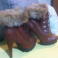 Boots Sexy and combatant! Maple brown heeled boots with 5 inch heel and fur ankle collar. Like New Shoes Ankle Boots & Booties