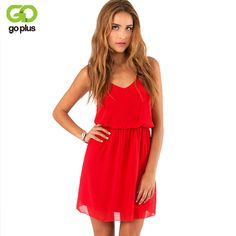 Buy GOPLUS 2018 Summer Style Chiffon Party Dress Women Casual V neck Beach  Dress Sleeveless Red f635829e4a1a