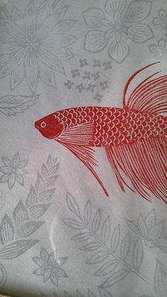 TT, plants, flowers and fish print Japanese Woodcut, Japanese Art, Textile Prints, Art Prints, Stamp Carving, Paisley, Fish Print, Red Fish, Doodle Drawings