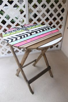 Hand painted Aztec Style Patio Table by AwefullyOrdinary on Etsy