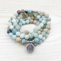 bracelet collier mala amazonite lotus