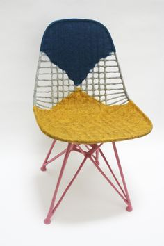 "Chair for Ray by Tanya Aguiniga @lacma Tanya Aguiñiga (b. 1978) is a Los Angeles-based furniture designer/maker raised in Tijuana, Mexico. Her ""Chair for Ray"" is made of blue, yellow, white, and pink felted raw wool applied to an authentic, vintage Eames Wire Chair, the DAR. The piece was a gift to LACMA from Joel and Margaret Chen."