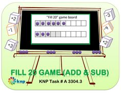 """Fill 20 Game (add & sub)"" - Add and subtract within 20 by counting. Supports learning Common Core Standards: 2.OA.2, 1.OA.6, 1.OA.5, 1.OA.3 [KNP Task # A 3304.3]"
