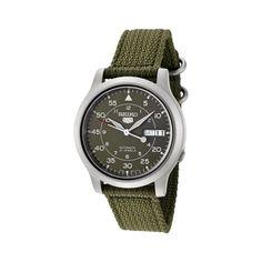 Seiko Green Canvas Military Watch