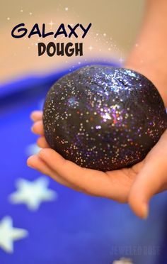GALAXY DOUGH FOR KIDS- a must try! ( Super smooth, ultra sparkly, & really stretchy.  This no cook recipe takes seconds to make & is so FUN!  My kids played four hours!)