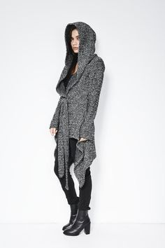 Coat with a Hood / Asymmetrical Hoody Cardigan / by marcellamoda