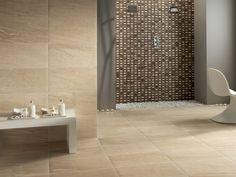 kleines bad mosaik fliesen braun creme moderner duschkopf, Innenarchitektur ideen