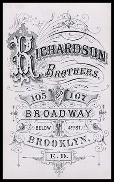 Old Photography Backside Identity {love the lettering & ornamentation} // Richardson Brothers