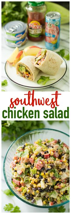 Southwest Chicken Salad Wraps- protein-packed chicken joined with a salsa dressing and a bounty of other flavorful ingredients makes for such an incredibly tasty, easy back to school meal! AD #CampbellsShortcutMeals