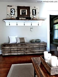 Pallet Benches with Storage & Old Wood Coffee Table Top with Industrial Legs