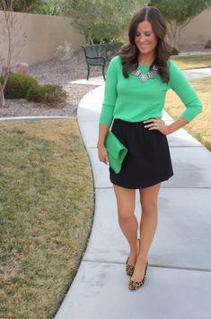 Skirt + green top