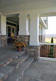Eldorado Stone - Imagine - Designer's Portfolios - Contemporary Farmhouse Blending Rural Charm with Classic Style The clients wanted a traditional but modern home that would reflect their values and give their young family room Front Porch Steps, Front Porch Design, Porch Designs, House With Porch, House Front, Stone Front House, Eldorado Stone, Porch Stairs, Garden Stairs