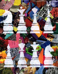 chess wall art mixed media collage art bohemian by ArtPopTart