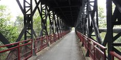Old railroad bridge converted to a cycle path Railroad Bridge, Paths, Sidewalk, Side Walkway, Walkway, Walkways, Pavement