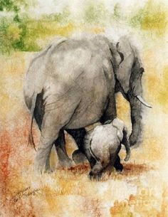 Elephant Families 'r so close - they're loving w/ ea. other : Vanishing Thunder Series - Mama And Baby Elephant Painting by Suzanne Schaefer - Elephant Canvas, Elephant Love, Elephant Nursery, Nursery Art, Watercolor Animals, Watercolor Paintings, Elephant Watercolor, Abstract Paintings, Art Paintings