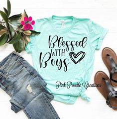 Mom Of Boys Shirt, Mama Shirt, Boys Shirts, Cute Shirts, Funny Shirts Women, Funny Shirt Sayings, Shirts With Sayings, Blessed Shirt, Mothers Day Shirts
