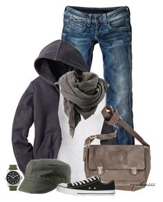 """""""Comfy casual"""" by cynthia335 ❤ liked on Polyvore featuring Pepe Jeans London, Uniqlo, Timex, American Vintage, Bruuns Bazaar, Atlantis Caps, Disney and Converse"""