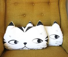 Hand painted Tabby Cat Face Pillow
